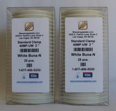 "BOX OF 25 TRI CLOVER SANITARY GASKETS WHITE BUNA 2"" 3A"