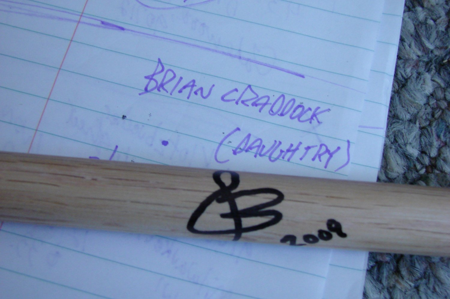 brian craddock /daughtry autographed drumstick
