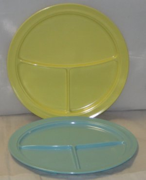 Mallo Ware Cafeteria Style Lunch Plates Yellow & Blue