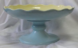Vintage Hull Compote Fruit Bowl Centerpiece Blue/Yellow #159