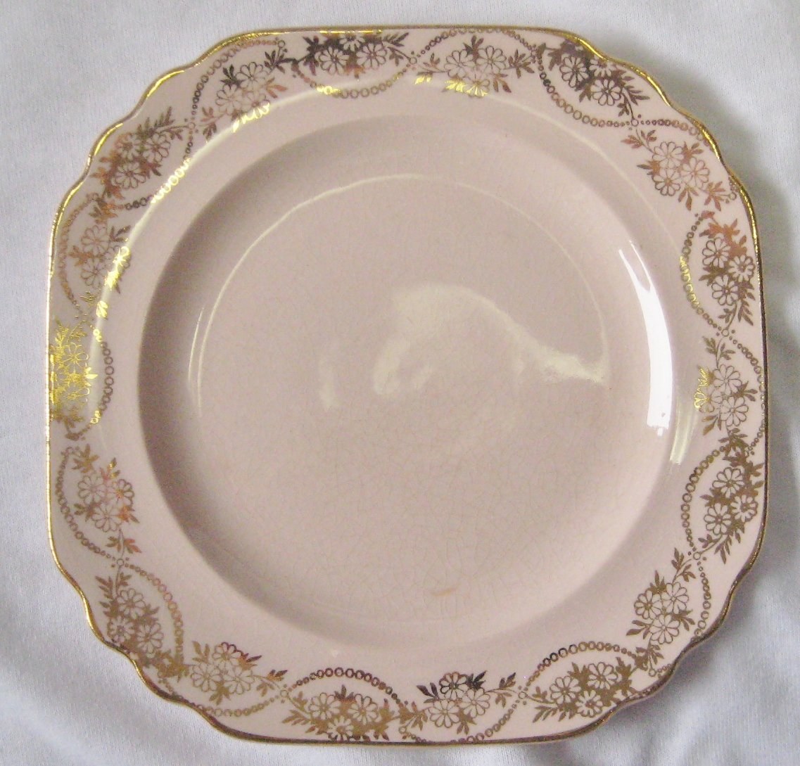 Vintage Gold Krest China Pink Dessert/Bread Plate Gold Trim