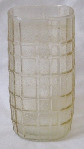 "Anchor Hocking Square Tumbler 5 5/8"" Amber Textured Square Panels"