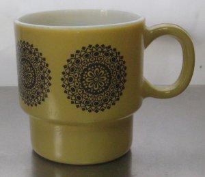 Vintage Retro Stackable 2 Tone Brown Coffee Cup Mug