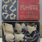 Vintage All Metal Cake Sandwich Cookie Cutters Bridge Party in Original Box