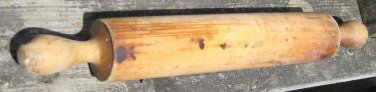 ANTIQUE PRIMITIVE OLD FARM WOOD TURNED DOUGH ROLLING PIN EARLY PATINA