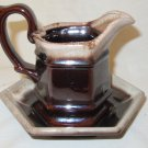 Vintage Brinn's Pitcher / Creamer with 6 Sided Base Plate