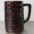 VINTAGE MARCREST BEER MUG DOT and DAISY PATTERN BROWN Stoneware