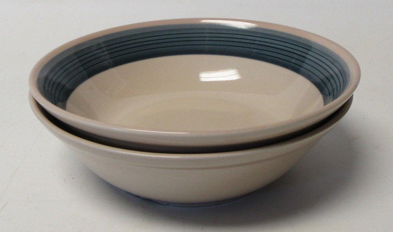 "Mikasa Discovery Blue Thunder Ben Seibel 2 Soup Cereal Bowls P3005 6 3/4"""