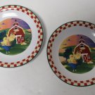 "2 Rooster Barnyard Scene 8"" Pottery Salad Plates Unknown Maker"