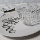 Vintage Grape Design Snack Luncheon Sandwich 4 Plates 3 Cups Indent Marked 9309