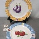 """""""FRESH VEGETABLES"""" Tabletops Unlimited 10 1/2"""" DINNER PLATE Egg Plant/Tomato"""