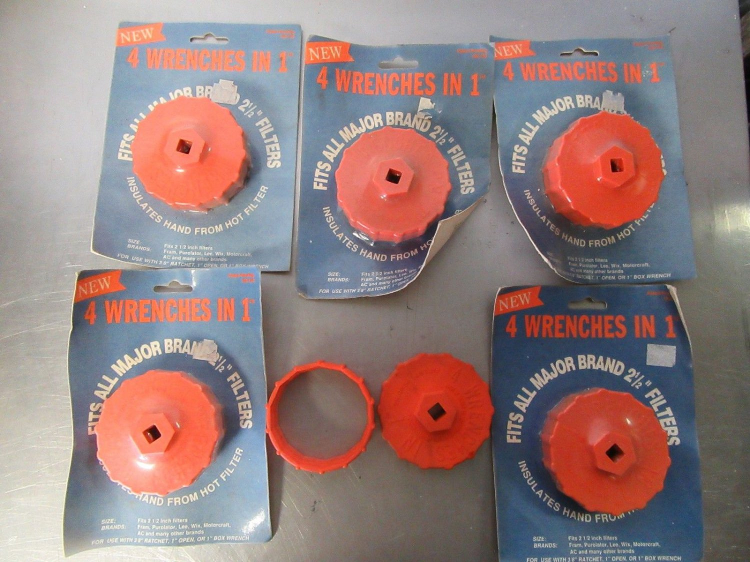 """Oil Filter Wrench 4 In 1 Fits all 2 1/2"""" Filters Nylon 6 Total Vintage Nos"""