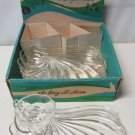 Hazel Ware Sea Shell Snack Set 4 Trays 2 Cups Clear Glass