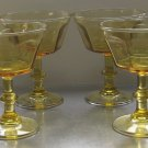 """4 Lenox Bryce Antique Yellow Champagne Sherbet Glasses 4 5/8"""" Tall with 8 Sides"""