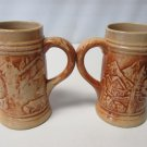 Antique 1920s HULL Pottery ALPINE Utility Ware Yelloware (2) STEINS