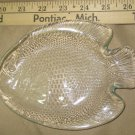 Fish Arcoroc Sushi or Bread  Plate Poisson Tiny Size VTG Clear Glass