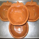 "Vintage Apple Shaped Stoneware Soup/Cereal Bowls 4 Total About 4"" Across Brown"
