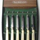 Vintage Regent Sheffield Cutlery Plastic/Stainless Steel 6 PC. Steak Knife Set