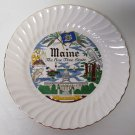 """Maine The Pine Tree State Sheffield Souvenir Plate Gold Trim About 9.75"""""""