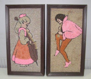 Vtg Gravel Art Pebble Rock Wall Decor 1960-70 Era Boy Girl Music Instruments