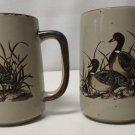 Otagiri MALLARD DUCKS in Grass / Flight Set of 2 Embossed Coffee Mugs