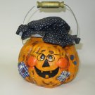 Pumpkin Hobo Trick or Treat Bowl and Lid Face Patch Glasses Buttons Bale Handle
