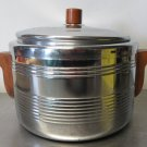 Mid Century Ice Bucket Art Deco Style Heller Ice Vault Made in USA Chrome Teak