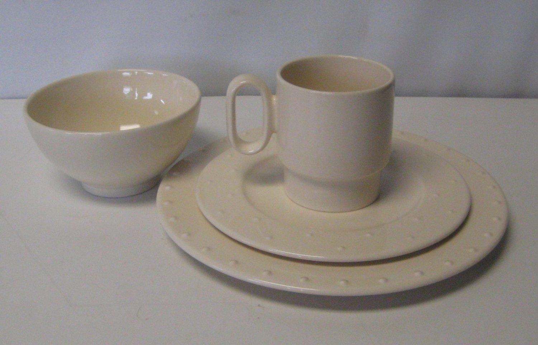 Waechtersbach Real Life Canvas Tan Table Setting Dinner & Salad Plate Mug & Bowl