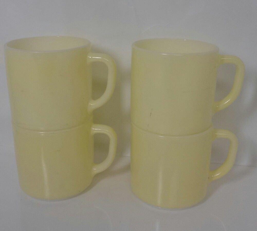 FEDERAL GLASS Mug COFFEE CUP Pale YELLOW COFFEE CUP 1950's (4) Four