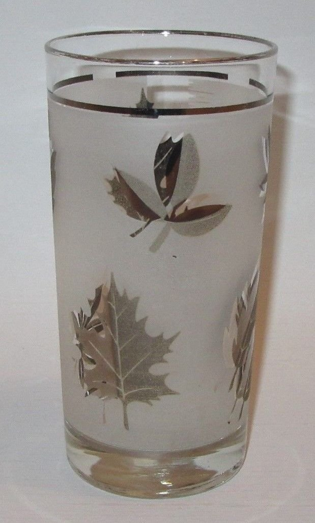 """Libbey Silver Leaf Tumbler About 5.5"""" Tall"""