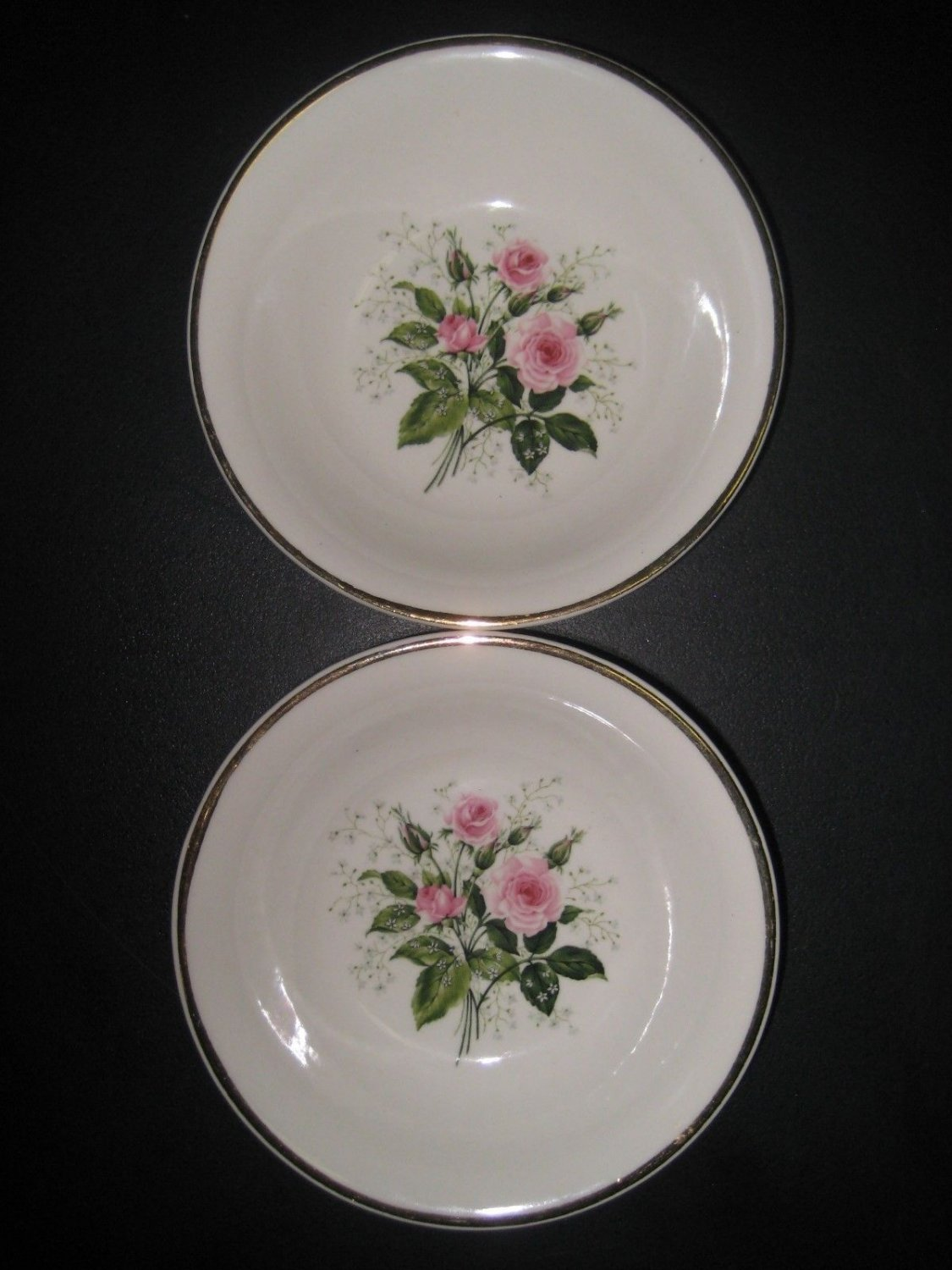 """Canonsburg American Rose 5"""" Bowls Gold Trim Pink Roses,Green Leaves, Babies Breath"""