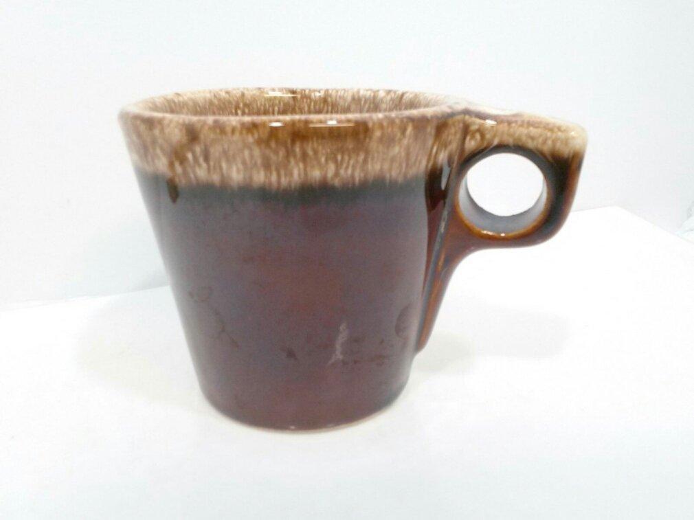 "Hull Vintage Coffee Cup Brown Drip Glaze Mug Made In USA 3.5"" tall"
