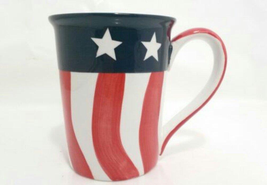 USA Flag Latte Mug Red White Blue