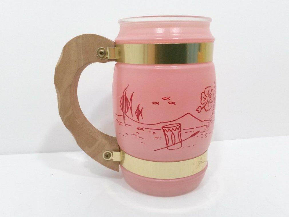 Vintage Siesta Ware Tiki Bar Frosted Glass Mug Wood Handle Pink