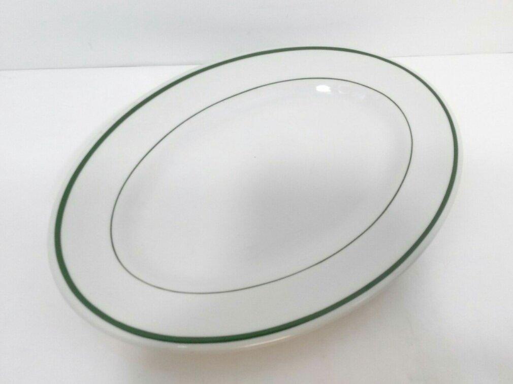 "SHENANGO RimRol RESTAURANT WARE OVAL PLATE 11 3/8"" Green Stripes platter"