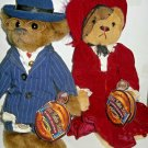 """Pickford Brass Button Bear Collection """"BAXTER"""" &""""Gabrielle"""" W/Tags 1999 Lot of 2"""
