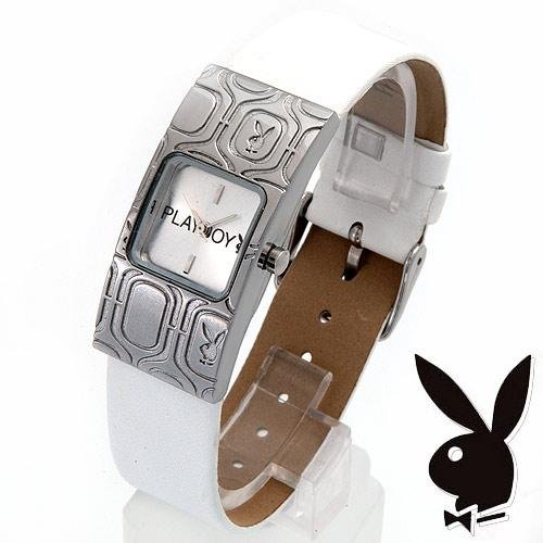 Playboy Watch White Leather Band NEW