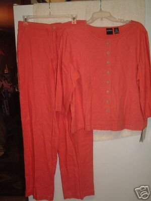 NWT's Erika 2 PC Linen Blend Shirt/Slacks sz M