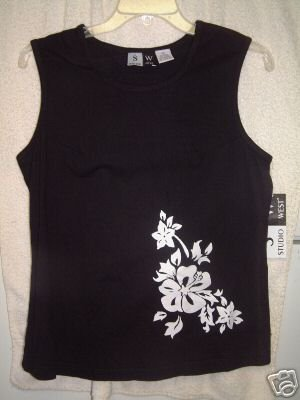 NWT's Studio West Black Tank Top sz S