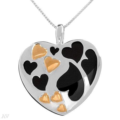 Darling Heart Onyx 14KGP Sterling Pendant MSRP $150