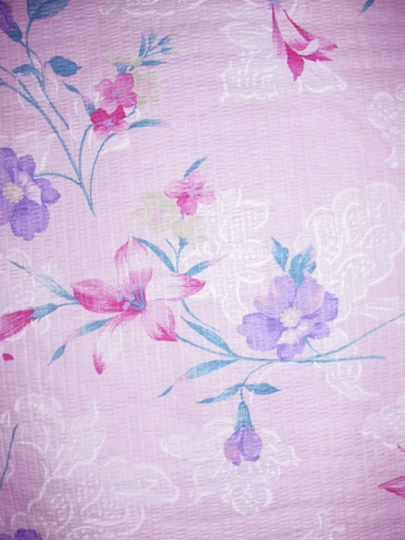 Cotton Fabric - Red Lily Flowers - Soft Pink
