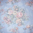 Home Decor - Cotton Fabric - Delicate Bouquet of Roses - Soft Blue