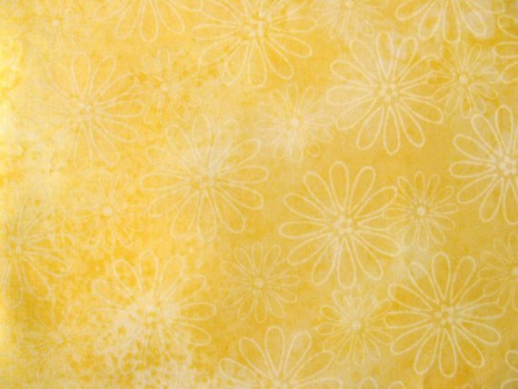 Cotton Fabric - Delicates White Flowers on Yellow Background