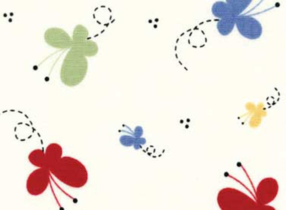 Nursery Cotton Fabric - Vintage Play by Susan Marth - Butterflies - ON SALE