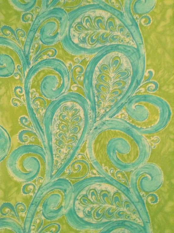 Home Decor Fabric - Blue Turquoise Paisley on Apple Green Background