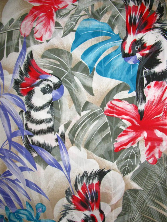 Cotton Fabric - Beautiful Tropical Fabric Parrots and exotic flowers pattern
