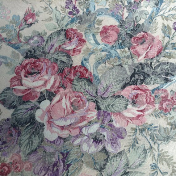 Home Decor Fabric - Beautiful Floral Fabric on Beige Background