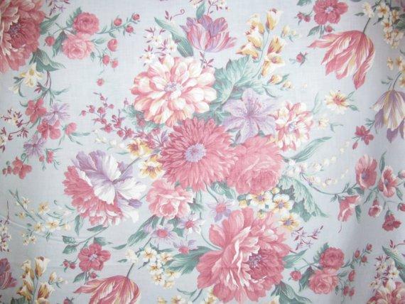 Cotton Fabric - Garden Flowers Bouquet - Light Blue