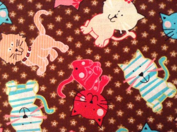 Nursery Cotton Fabric - Cats Kittens - Brown