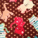 Nursery Cotton Fabric - Cats Kittens - Brown